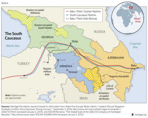 A map of the South Caucasus, right before the recent 2020 startup of conflict over Nagorno-Karabakh.