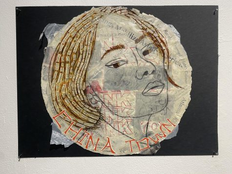 """""""I am not a virus,"""" a mixed-media artwork by Sophie Hafter."""